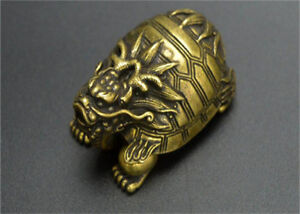 Chinese-Archaize-Carved-Pure-Copper-Brass-Bronze-Dragon-Turtle-Small-Statue