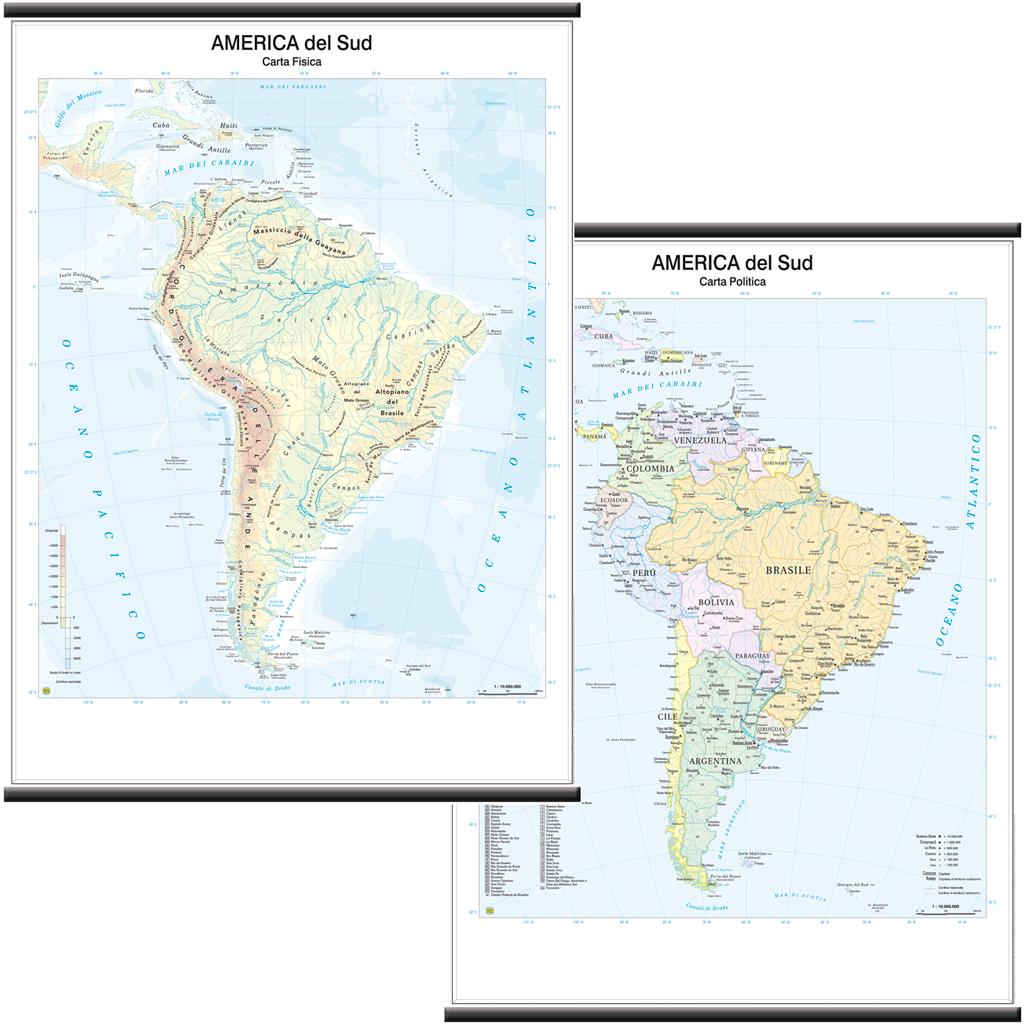Cartina Politica Dei Caraibi.America Del Sud Cartina Murale 97x134 Cm Doppia Faccia Carta