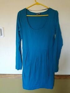 Volcom-Women-039-s-Neon-Sunset-Long-Sleeve-Dress-Size-Large-Teal-color