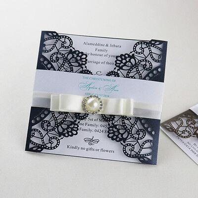 30 Personalized Laser Cut Black Wedding Invitation Cards Party Invitation Cards Ebay