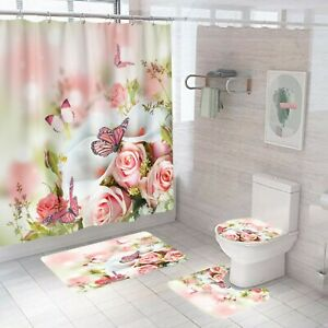 Floral-Bathroom-Rug-Set-Shower-Curtain-Thick-Non-Slip-Toilet-Lid-Cover-Bath-Mat