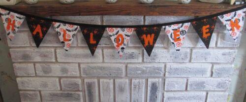 Spiders Skulls Pumpkins Bats Handmade fabric bunting HALLOWEEN Decorations