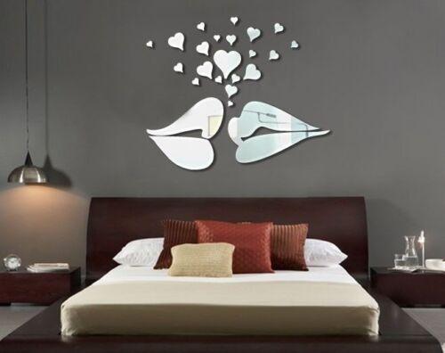 Love Kiss Modern Acrylic Plastic Mirror Wall ROOM Decal Decor Vinyl Art Stickers