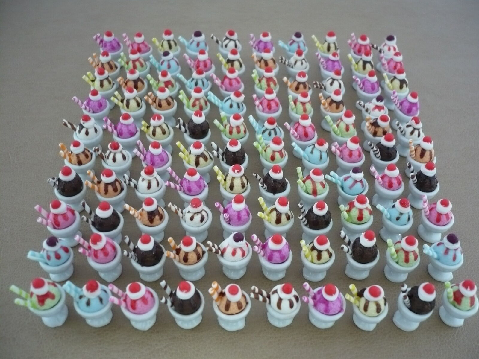 100 Mix Mix Mix Ice-Cream Sundae Cup Dollhouse Miniatures Food Supply Deco 0657ad
