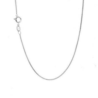 "Guaranteed 14K White Gold Box Chain Necklace 0.6mm 14""-22"" **MADE IN ITALY**"