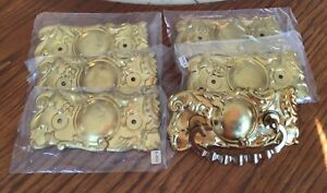 Victorian Drawer Handles ORNATE 3 pairs of pressed Brass Total-6 w/plates-Reprod