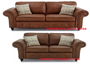 NEW OAKLAND BECKENHAM 3 + 2 + ARMCHAIR SOFA SET FAUX LEATHER BROWN ...