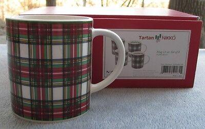 Set of FOUR Nikko Tartan Christmas Plaid Coffee Mugs New in Box