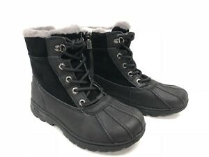 Ugg-Australia-1012384-K-Kid-039-s-Leggero-Boots-Black-Lace-Up-Sheepskin-Leather