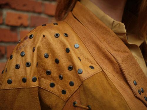 Fransenjacke Charabê 90er Cognac Vintage Jacke Lederjacke Nieten Jacket 90s True dZqnrZ