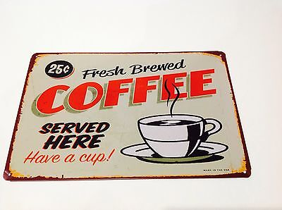 Metal Sign 1950s COFFEE Vintage Picture Tavern  Wall Tin Cafe Decor bar poster