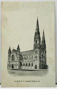 Pittsburgh-Pa-St-Paul-039-s-R-C-Cathedral-Pittsburg-Press-Series-udb-Postcard-I1
