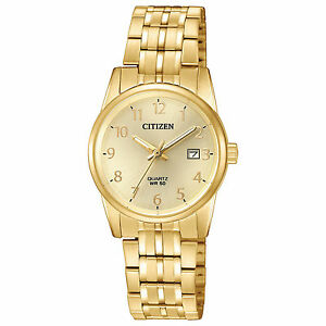e98a21bec42 Ladies Citizen Quartz Gold Tone Stainless Gold Dial with Date Watch ...