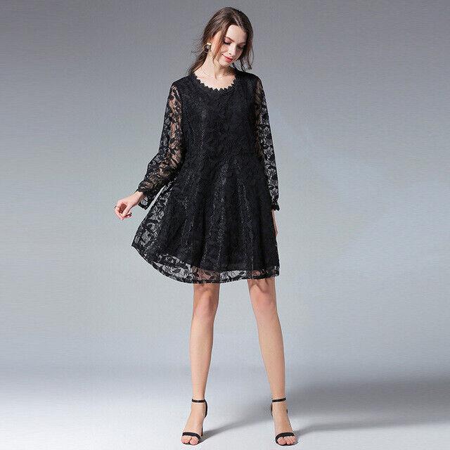 Elegant Dress Gown Maxi Dress damen schwarz Lace Swing Soft 4960