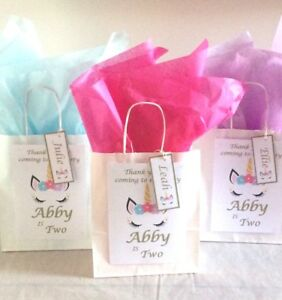 Image is loading PERSONALISED-UNICORN-CHILDRENS-BIRTHDAY-PARTY-PAPER-GIFT- BAGS-