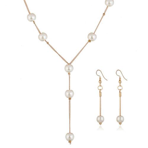 Imitación Perlas Collar Aretes Pulsera Joyería Gargantilla Regalo de Mujer Conjunto Simple *