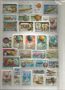BALLON-ZEPPELIN-avions-TIMBRES-SELLOS-Stamps-Timbres