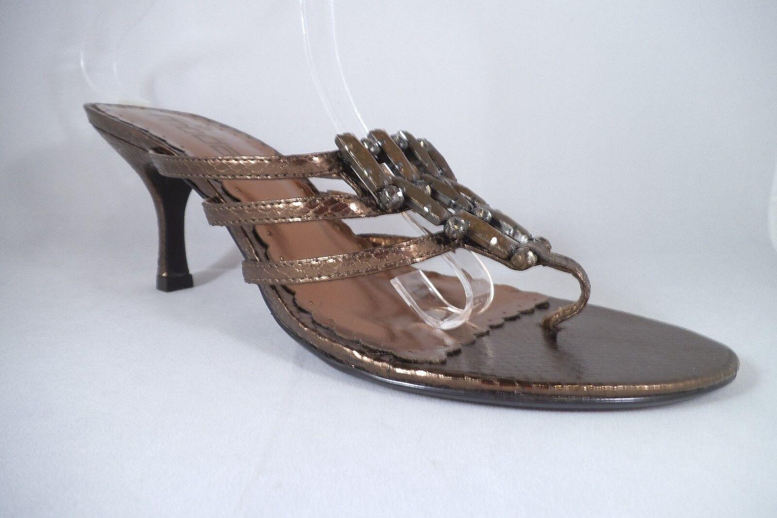 Nuevo Moda Spana Sandalia M de cobre Brillo Con Cuentas Tanga Elegante Tacones Cocodrilo