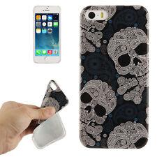 TPU Schutz Hülle Skull Design Totenkopf Cover Iphone 5/5S Tasche Etui Bumper