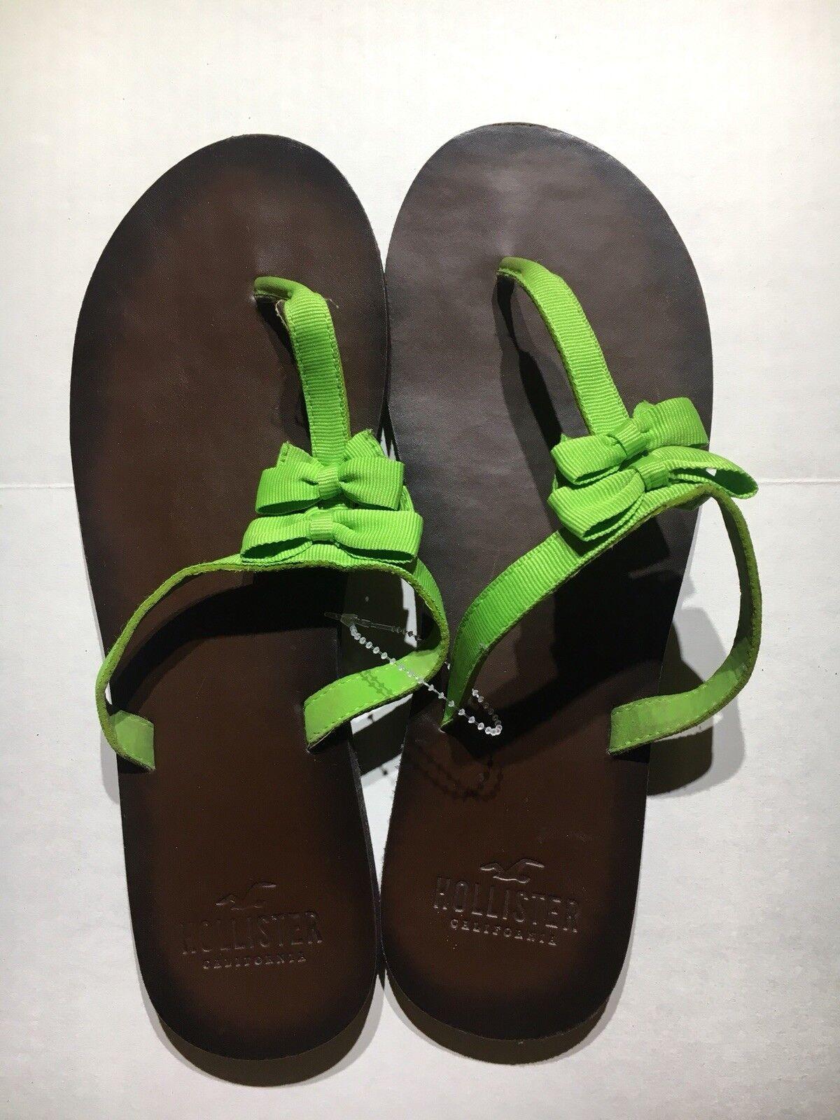 EUC!! Bow Women's Hollister Green Strap Bow EUC!! Flip Flop Size Medium 8a0f9b