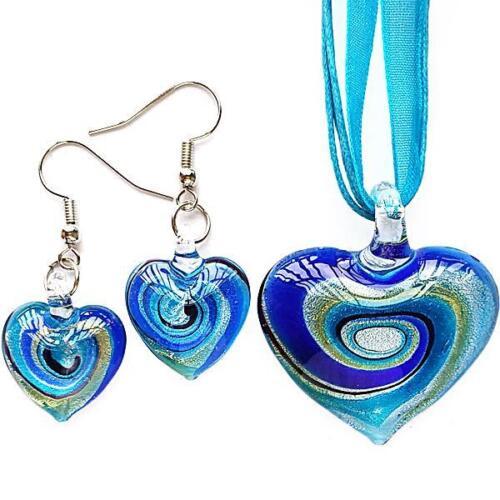 Silver Aqua Heart Lampwork Glass Bead Pendant Ribbon Necklace Cord Earring Set