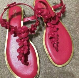 New-MICHAEL-KORS-red-thong-sandals-US-Sz-7-M