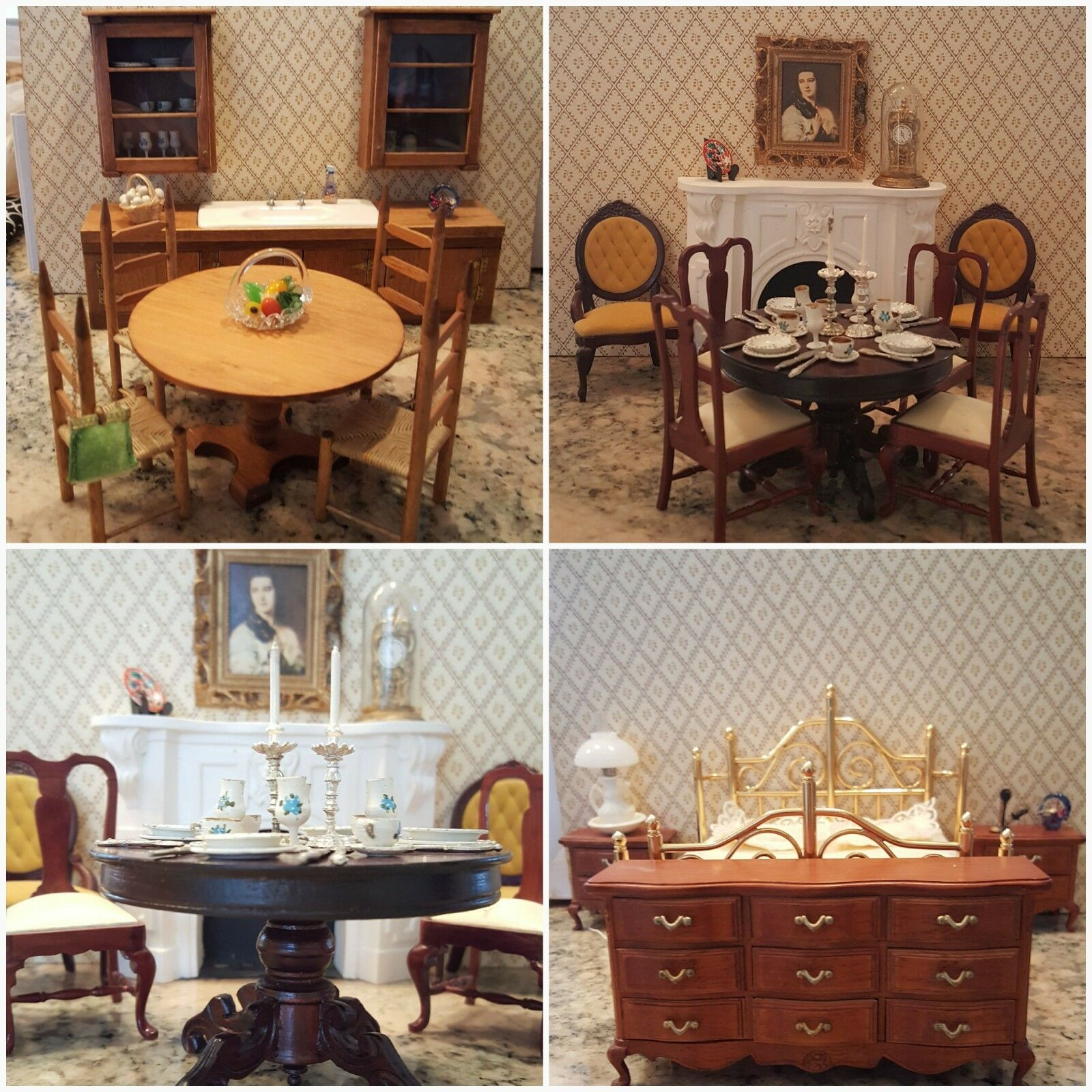 Vintage Doll house furniture 1 12 scale handcrafted  22 pieces plus many more
