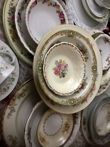 Vintage-Mismatched-China-6-place-settings-30-pc-Boho-Dinnerware-Set-27