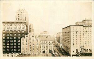 Autos-Birdseye-4th-Avenue-1938-RPPC-Photo-Postcard-Seattle-Washington-11333