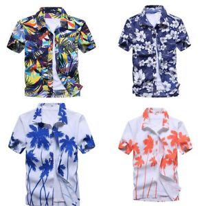 Men-039-s-Hawaiian-Shirt-Summer-Floral-Printed-Beach-Short-Sleeve-Top-Blouse-NEW