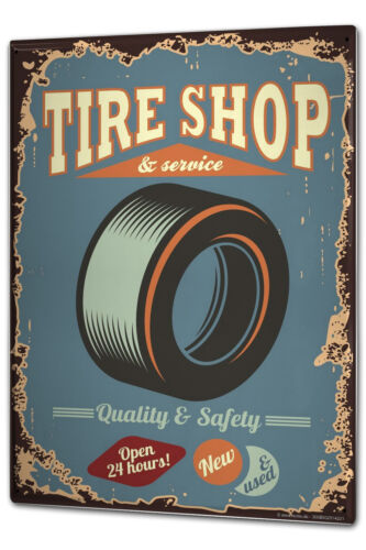 Blechschild XXL Garage Reifen-Shop Tankstellen
