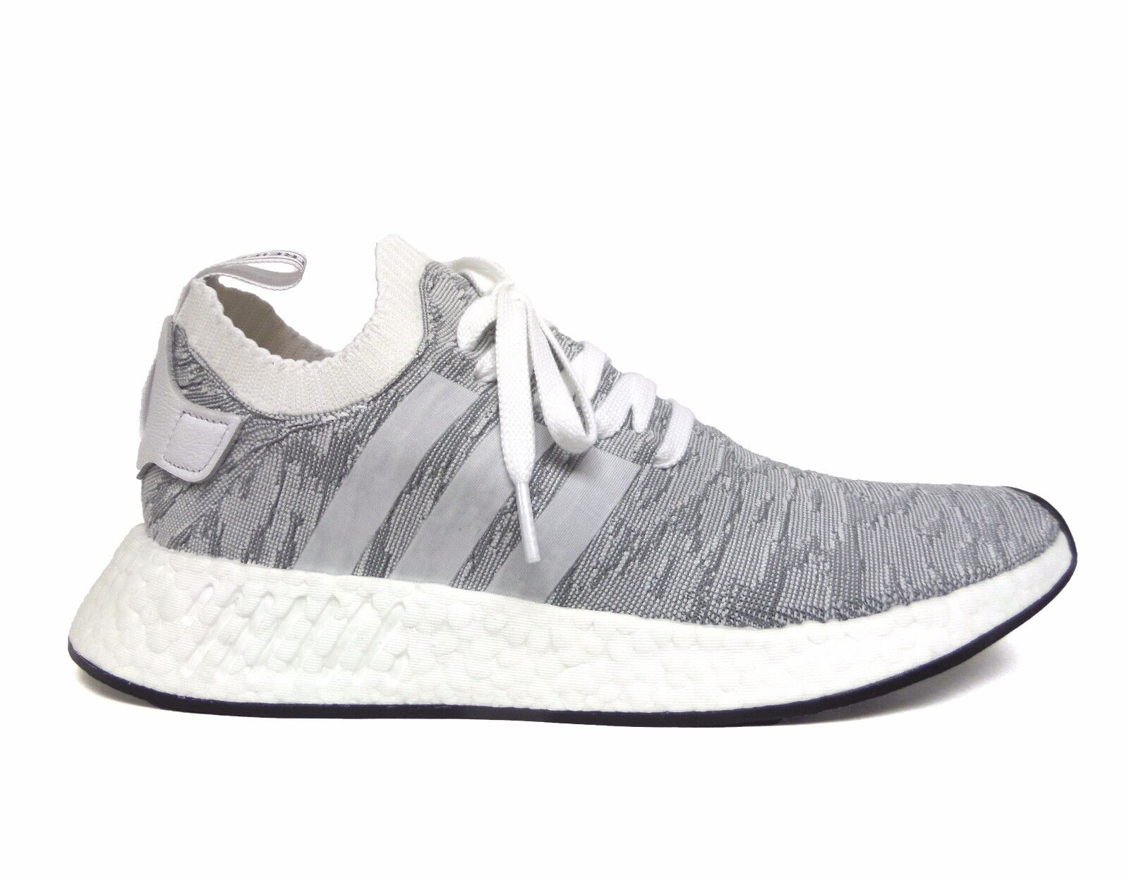 Adidas Men's ORIGINALS NMD R2 PRIMEKNIT Running Shoes White/Black BY9410 b