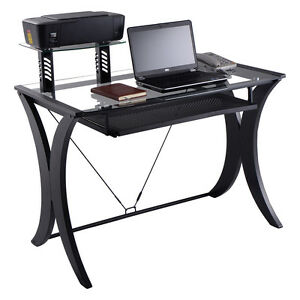 Image Is Loading Computer Desk PC Laptop Table Glass Top W