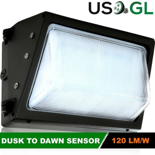 DLC 4500LM NEW 40W LED Wall Pack Built-in Photocell Glass Lens UL 5000K
