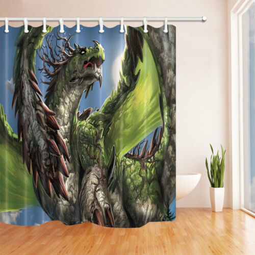 Dragon Theme Various Pattern Shower Curtain Bathroom Waterproof Fabric 12 Hooks