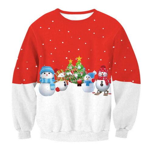 Unisex Christmas Crewneck Long Sleeve Sweatshirt Casual Hoodie XMAS Loose Tops