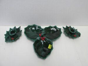 Vintage Lefton Holly Candy Dish & Candle Holder Set Christmas Decoration jrs242