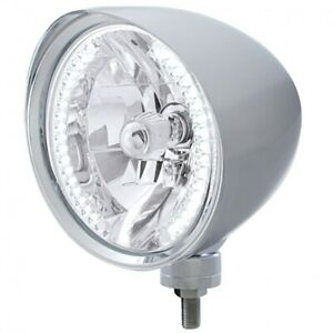 UNITED-PACIFIC-034-CHOPPER-034-Headlight-w-Smooth-Visor-34-White-LED-H4-Bulb-32512
