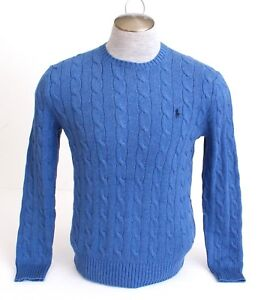 f88ce1b6a3b3bb Image is loading Polo-Ralph-Lauren-Blue-Cable-Knit-Cotton-Sweater-