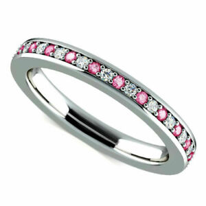 Real Diamond Pink Sapphire Eternity Band 2.76 Ct 14K White Gold Size M N O P