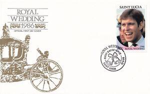 (21358) St Lucia Fdc Prince Andrew Fergie Mariage Royal 12 Août 1986-afficher Le Titre D'origine