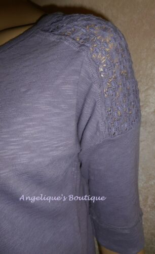 PER UNA MAUVE PURPLE CROCHET LACE TRIM SLUB WEAVE JERSEY TOP SIZE 8-12 NEW