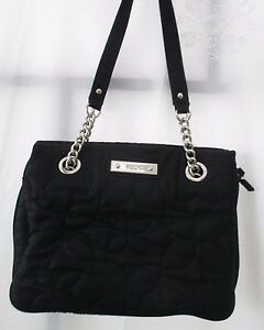 Image Is Loading Relic By Fossil Black Quilted Fabric Purse Handbag