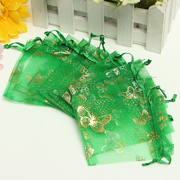 100pcs 7X9Ccm Organza Wedding Favor Gift Jewellery Candy Pouch Drawstring Bags
