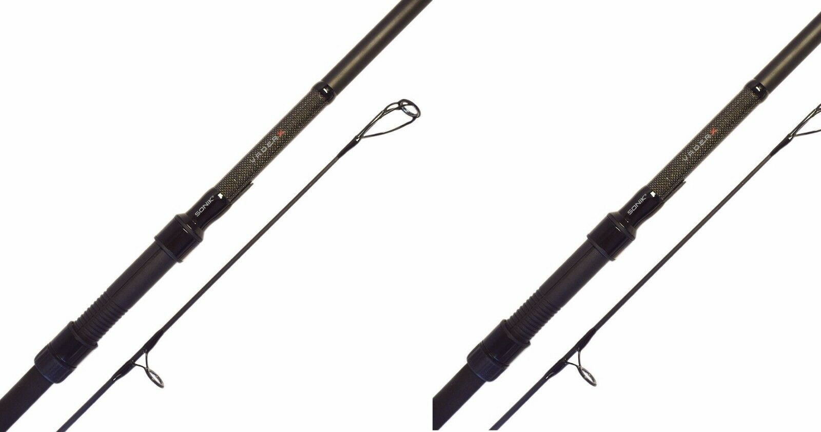 2 X Sonik Vader X Carp Rods 12ft 3.25lb Carp Fishing 50mm Butt Rings
