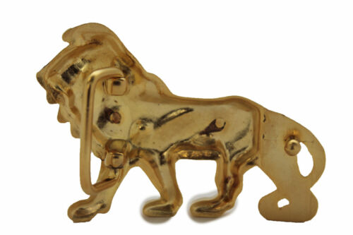 Men Women Belt Buckle Lion Kingdom Matte Gold Metal Trendy Narrow Animal Safari