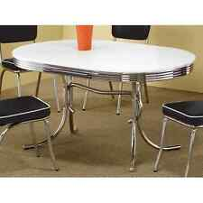 Retro Dining Table Vintage 50's Mid Century Modern Style Chrome Kitchen Oval