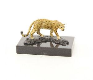 9973488-dss Bronze Figure De Sculpture Jaguar 7x8x13cm