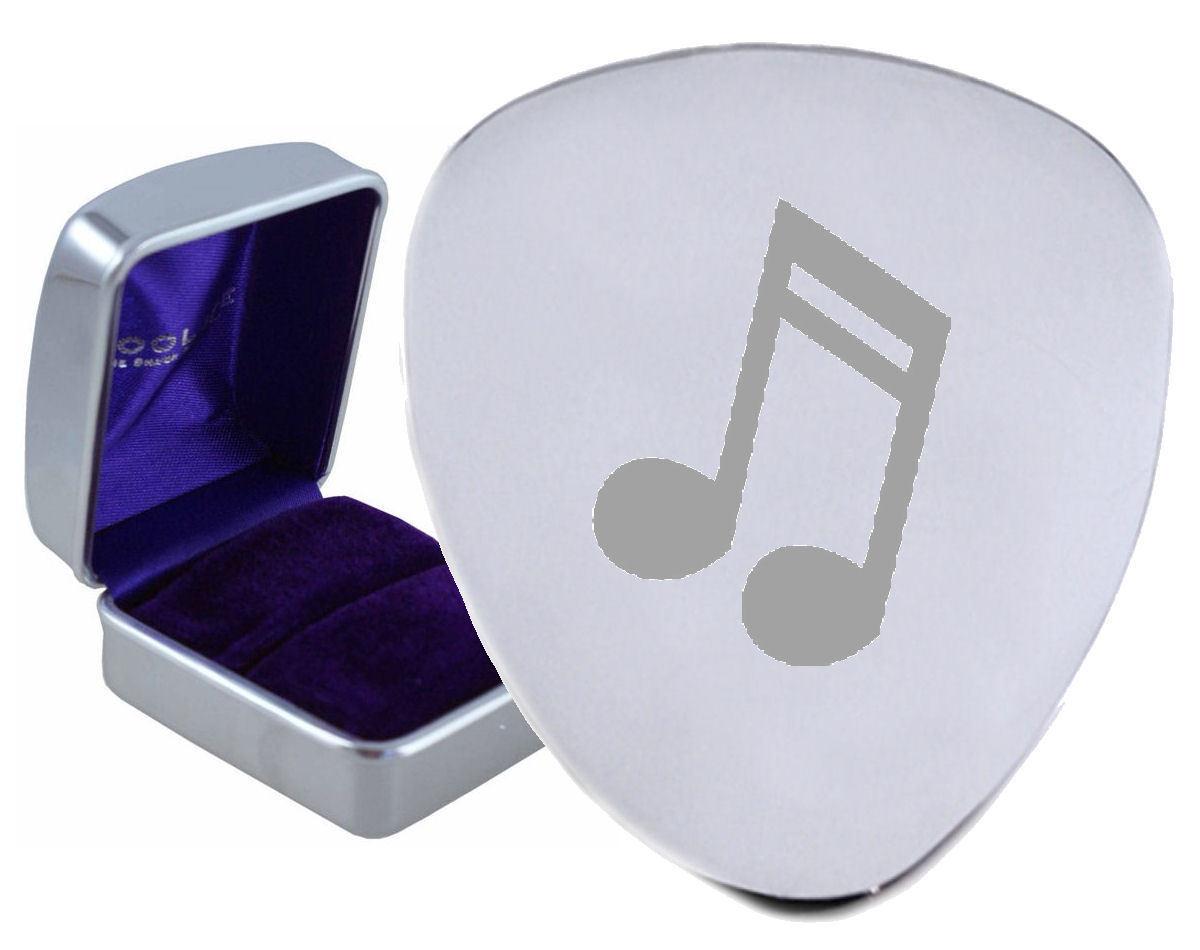 Musik Achtel Tasten Stahl Gitarre Plektrum Graviertes - Optional Text auf Box
