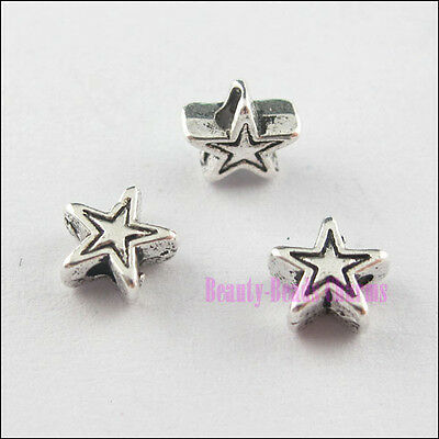 100Pcs Tibetan Silver Tone Tiny Lovely Star Spacer Beads Charms 6mm